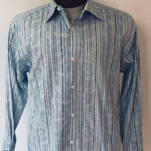 Johnston & Murphy Tailored Blue Stripe Men's Shirt